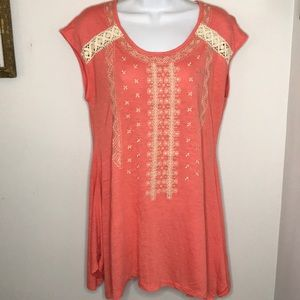 RXB Coral Top Embroidery Crochet Festival Summer M